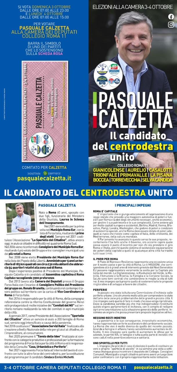 Pasquale Calzetta Elezioni Suppletive 2021 Roma per la Camera dei Deputati - Come si vota